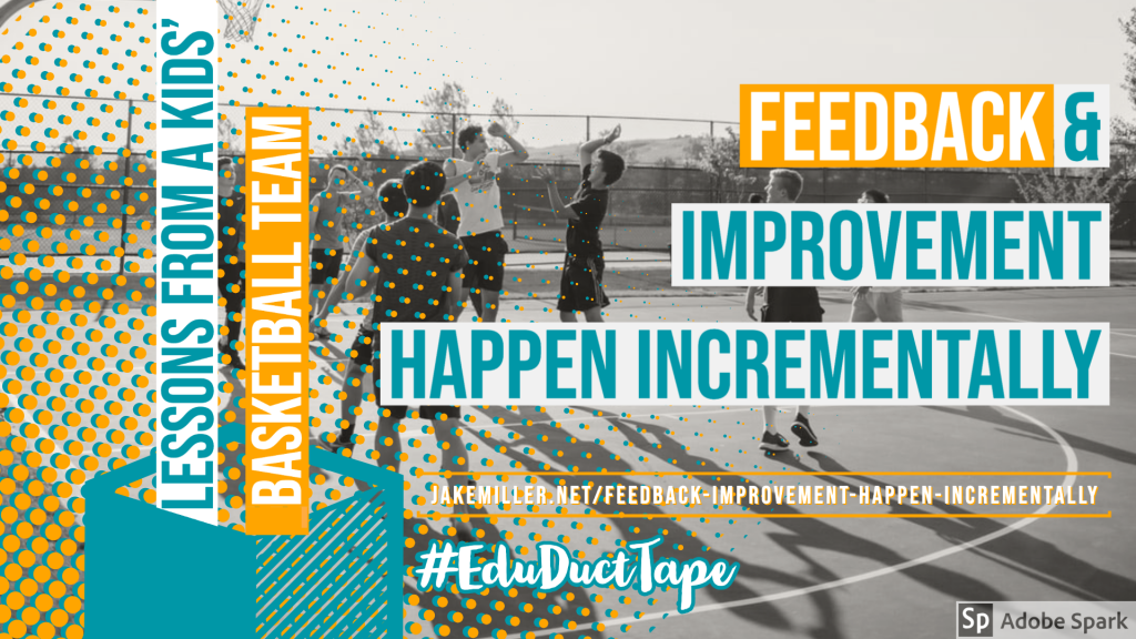 "Image shows kids playing basketball and the title of this post: ""Feedback & Improvement Happen Incrementally"""