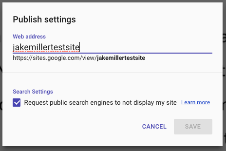 New Google Sites Hide from Search Results