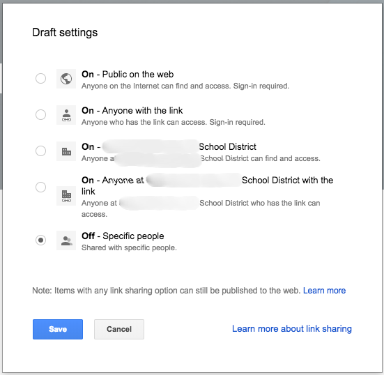 New Google Sites Draft Sharing Options