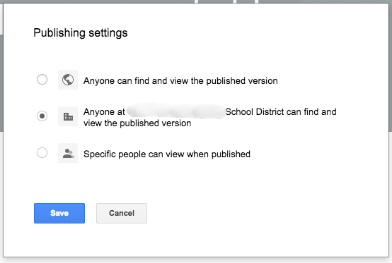 New Google Sites Publishing Settings