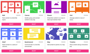 This image shows the 8 different types of Padlets: Wall, Canvas, Stream, Grid, Shelf, Backchannel, Map, Timeline