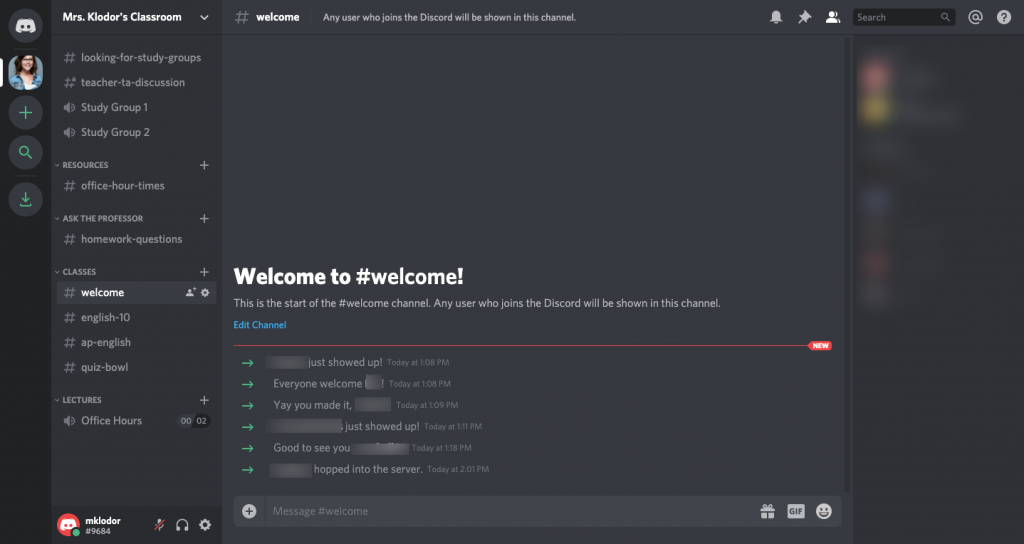 Screenshot of a main class page in Discord