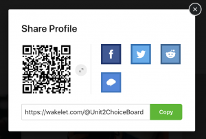 "This screenshot shows the options that appears when you click ""Share"" on a Wakelet Space. They include a link, a QR code, and buttons for Facebook, Twitter, Remind, and Reddit."