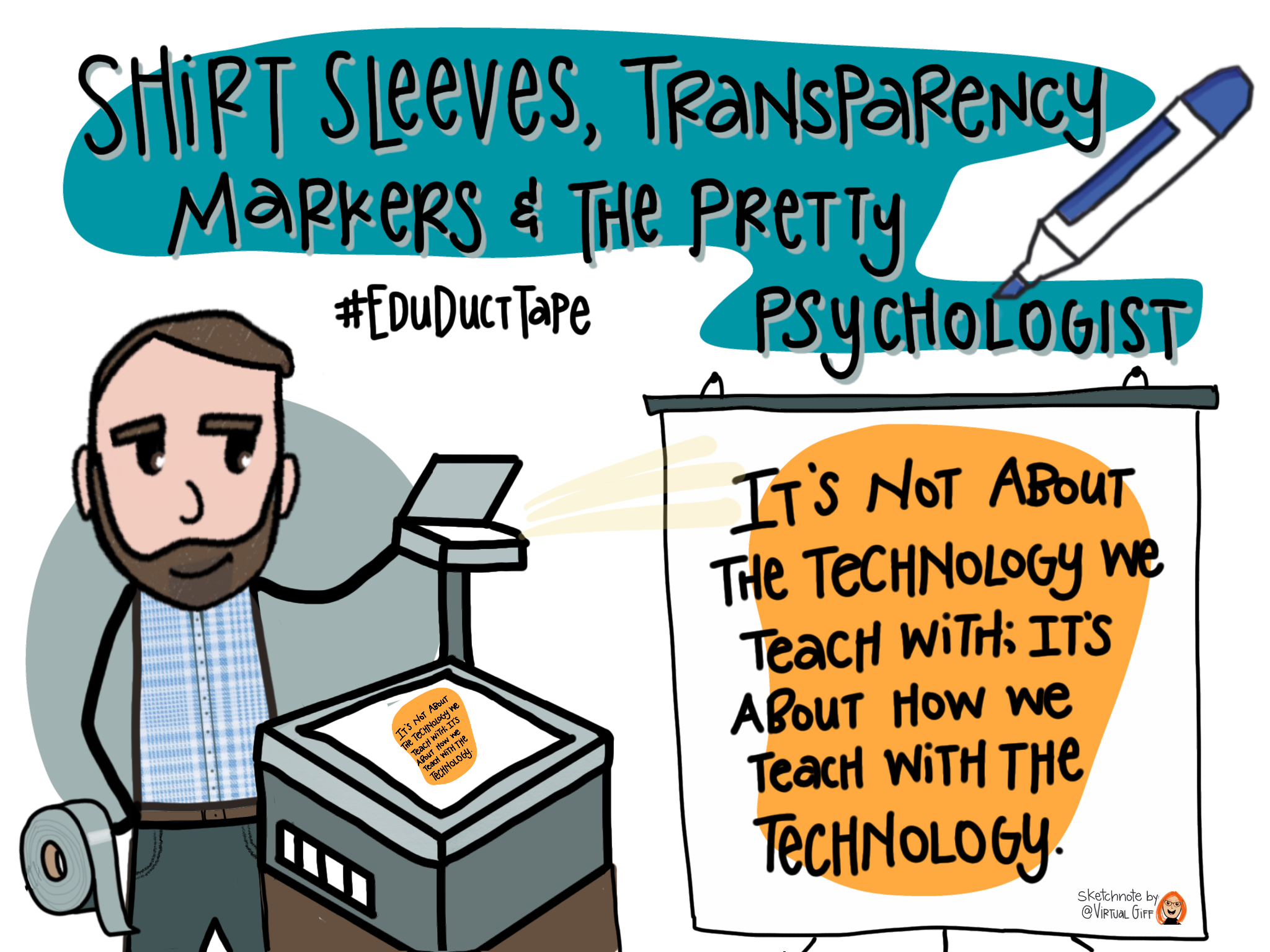 """This sketchnote shows the title of Chapter 5 of the Educational Duct Tape Book: """"Shirt Sleeves, Transparency Markers and the Pretty Psychologist."""" It shows Jake holding a roll of duct tape and standing by a transparency projector that is projecting the quote """"""""It's not about the technology we teach with; it's about how we teach with the technology!"""""""