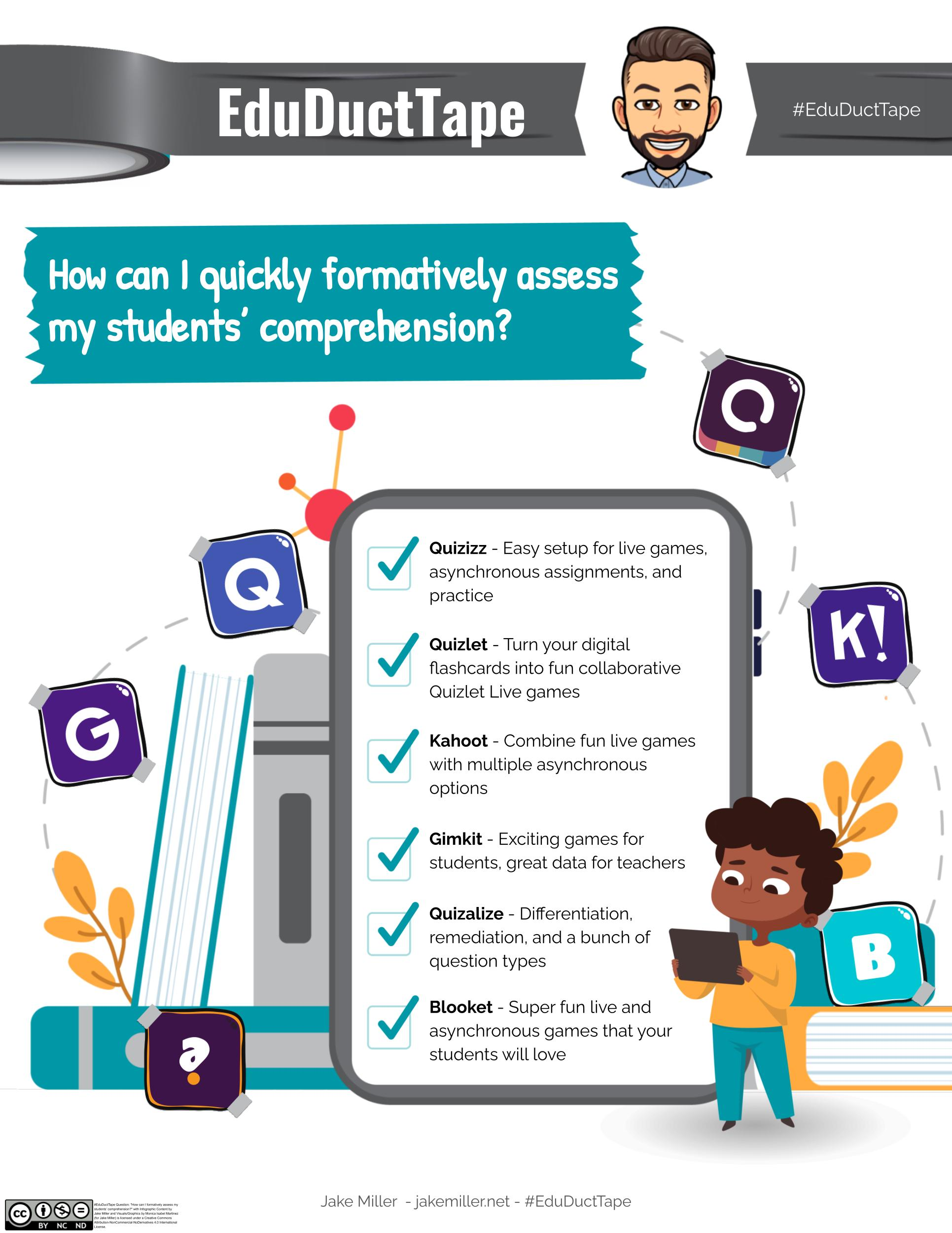 """This infographic is for the #EduDuctTape question """"How can I quickly formatively assess my students' comprehension?"""" The image shows a boy using a tablet, some books, the logos for the 6 tools, and a tablet screen with the following text on it: """"Quizizz - Easy setup for live games, asynchronous assignments, and practice. Quizlet - Turn your digital flashcards into fun collaborative Quizlet Live games. Kahoot - Combine fun live games with multiple asynchronous option. Gimkit - Exciting games for students, great data for teachers. Quizalize - Differentiation, remediation, and a bunch of question types. Blooket - Super fun live and asynchronous games that your students will love."""""""